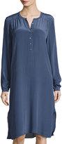 Calypso St. Barth Lita Silk Shirtdress, Dark Blue