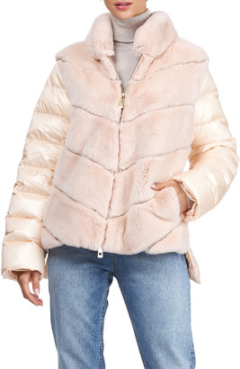 Gorski Chevron Rex Rabbit Jacket with Quilted Back & Sleeves