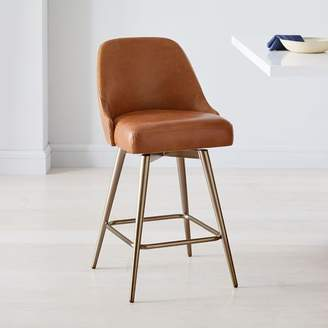 west elm Mid-Century Leather Counter Stool