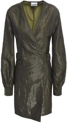 Ganni Crinkled Coated-cady Mini Wrap Dress