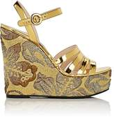 Prada Women's Leather & Brocade Wedge Sandals