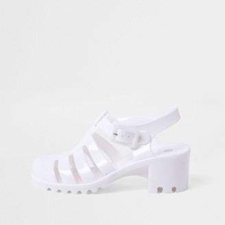 River Island Girls White Jelly Caged Heeled Sandal
