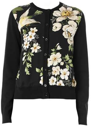 Carolina Herrera Floral Print Silk Panel Cardigan