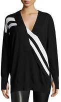 Rag & Bone Grace Striped Merino V-Neck Sweater, Black/White