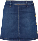 Frame Antibes Stretch-denim Mini Skirt - Dark denim