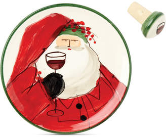 Vietri Old St. Nick Canape Plate with Cork Stopper