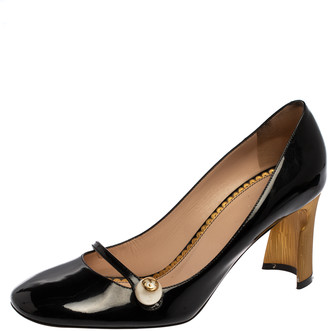 Gucci Black Patent Leather Pearl Detail Mary Jane Pumps Size 39