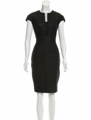 Lela Rose Woven Knee-Length Dress Navy