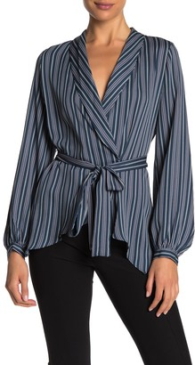 BCBGMAXAZRIA Wrap Long Sleeve Blouse