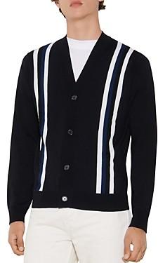 Sandro College Wool Striped Button Cardigan