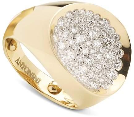 Antonini 18K Yellow Gold Large Matera Pavé Silvermist Diamond Ring