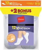Hanes Women`s 12-Pack Cushion No-Show Socks, 650/12