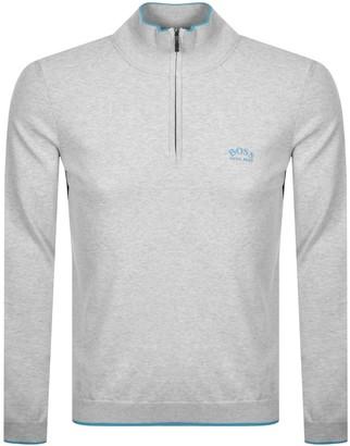 Boss Athleisure BOSS Ziston Half Zip Knitted Jumper Grey