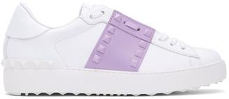 Valentino White and Purple Garavani Rockstud Open Sneakers