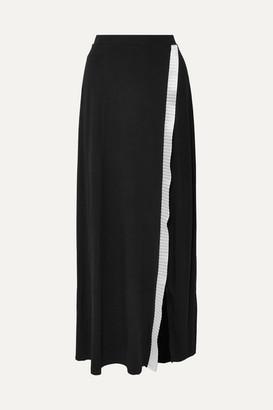 Sid Neigum - Wrap-effect Satin-trimmed Stretch-knit Maxi Skirt - Black