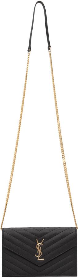 Thumbnail for your product : Saint Laurent Black Monogramme Chain Wallet Envelope Bag