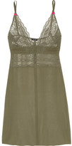 Heidi Klum Intimates A Corps Perdu Lace-trimmed Silk-georgette Chemise - Army green