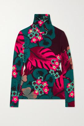 Dries Van Noten Floral-print Stretch-jersey Turtleneck Top - Fuchsia