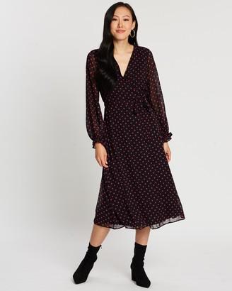 Dorothy Perkins Spot Long Sleeve Chiffon Wrap Dress