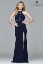 Faviana 7909 Long halter matte jersey dress with lace-up inserts