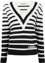 Valentino striped V-neck jumper