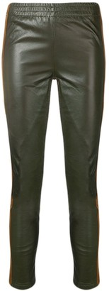 P.A.R.O.S.H. Side Stripe Leather Front Leggings