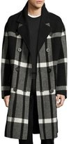 Burberry Double-Breasted Large Check Overcoat, Black