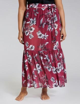 Lane Bryant Printed Ruffle Cover-Up Skirt