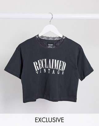 Reclaimed Vintage inspired crop t-shirt with lace neck
