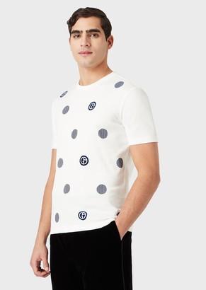 Giorgio Armani T-Shirt With Flocked Graphic Design