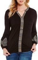 Democracy Long Sleeve Embroidered Detail Top