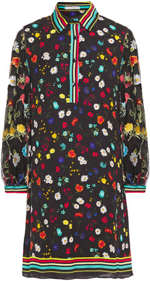 Alice + Olivia Lalita Floral-print Crepe De Chine And Burnout Chiffon Mini Dress