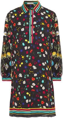 Alice + Olivia Lalita Floral-print Crepe De Chine And Burnout Chiffon Mini Dress