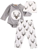 Ma&Baby 3Pcs Newborn Baby Boys Girls Deer Romper+Long Pants Hat Outfit Set 0-18M (0-3 Months)
