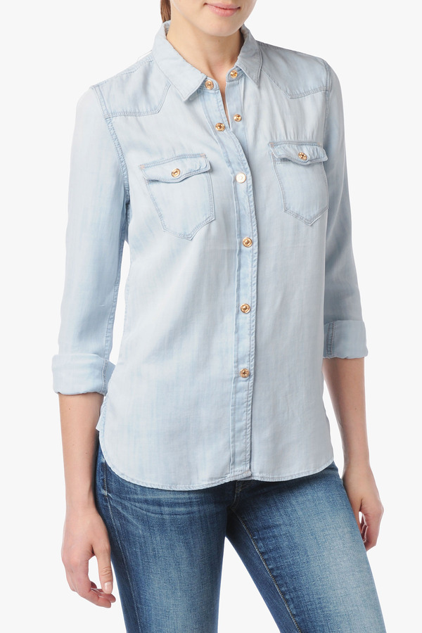 7 For All Mankind Slim Western Denim Shirt In Light Indigo