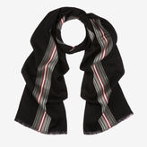 Bally Striped And Checked Scarf Black, Men's mixed viscose scarf in multi-black