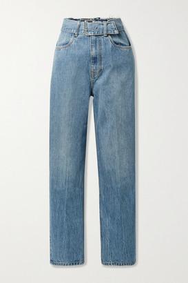 Alexander Wang Belted Distressed High-rise Straight-leg Jeans - Light denim