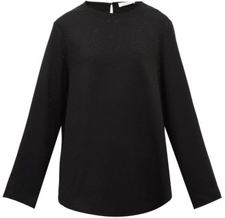 Racil Leopard And Heart-jacquard Round-neck Blouse - Womens - Black