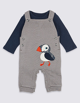 Marks and Spencer 2 Piece Pure Cotton Dungarees & Bodysuit Outfit