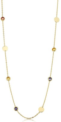 Fremada 14k Yellow Gold Disc and Briolette Cut Multi Gemstone Station Necklace