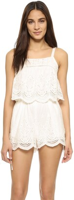 MinkPink Women's Crescent Moon Mixed Broiderie Eyelet Playsuit