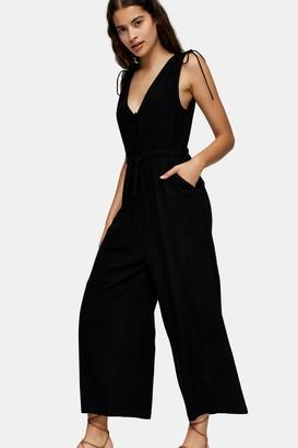Topshop Black V Neck Jumpsuit with Linen