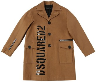 DSQUARED2 Logo Print Cotton Gabardine Coat