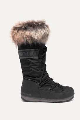 Moon Boot Monaco Faux Fur-trimmed Shell Snow Boots - Black
