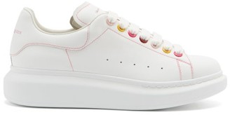 Alexander McQueen Oversized Raised-sole Leather Trainers - White Multi