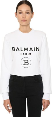 Balmain Logo Print Cotton Jersey Crop Sweatshirt