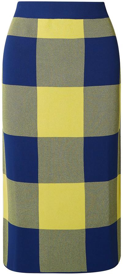 Derek Lam Gingham Jacquard-knit Midi Skirt