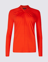 M&S Collection Knot Front Round Neck Long Sleeve T-Shirt