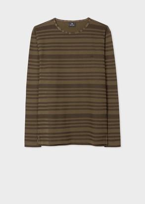 Paul Smith Men's Khaki And Brown Stripe Cotton Long-Sleeve T-Shirt