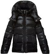 Moncler Maya Matte Zip-Front Puffer Coat, Black, Size 8-14